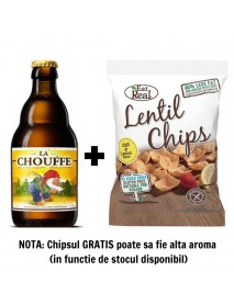Oferta Speciala - 1 bere LA CHOUFFE - Bere blonda 8% alc. - 0.33l + 1 chips Eat Real linte ardei iute si lamaie 40g -gratis