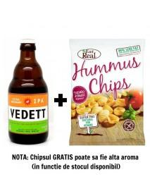 Oferta Speciala - 1 bere VEDETT IPA - Bere blonda 5,5% alc. - 0.33l + 1 chips Eat Real humus cu rosii si busuioc 45g -gratis