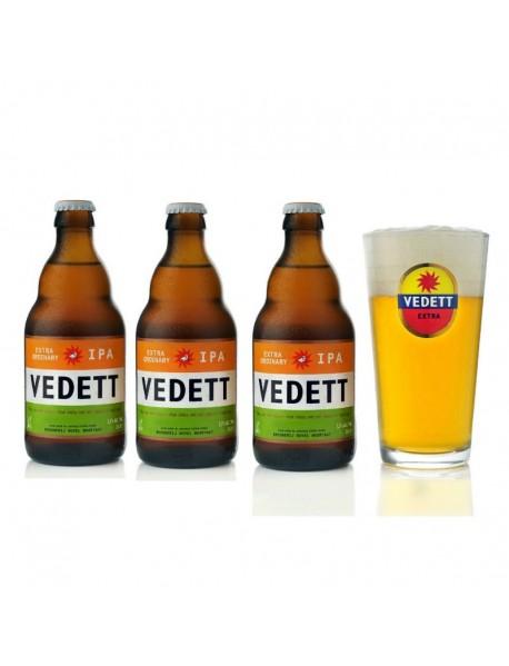 Oferta Speciala - 3 beri VEDETT IPA ExtraOrdinary + pahar - Bere blonda 5,5% alc. - 0.33l / bere speciala Belgia