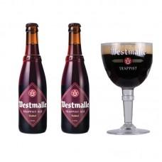 Oferta Speciala - 2 beri trapiste WESTMALLE DOUBLE +1 pahar / bere trapista Belgia