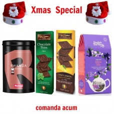 xmas - Oferta Speciala - Malongo cafea Rwanda, 2 cutii foite de ciocolata neagra belgiana Trianon , ceai BIO English Tea Shop Slim Me / la pret de sarbatoare