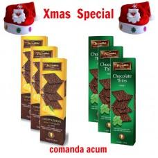 xmas - Oferta Speciala - 6 cutii foite de ciocolata neagra belgiana Trianon  / la pret de sarbatoare