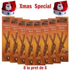xmas - Oferta Speciala - 8 cutii Trianon sticks de ciocolata belgiana cu caramel / la pret de sarbatoare