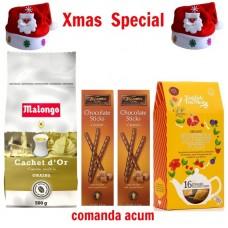 xmas - Oferta Speciala - cafea Malongo Cachet dOr boabe, ceai English Tea Shop Honeybush Acai berry, sticks de ciocolata Trianon  / la pret de sarbatoare