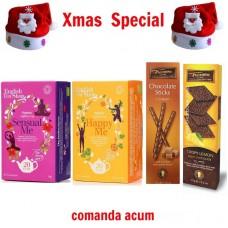 xmas - Oferta Speciala - ceai BIO English Tea Shop Sensual Me, Happy Me, foite si sticksuri de ciocolata Trianon  / la pret de sarbatoare